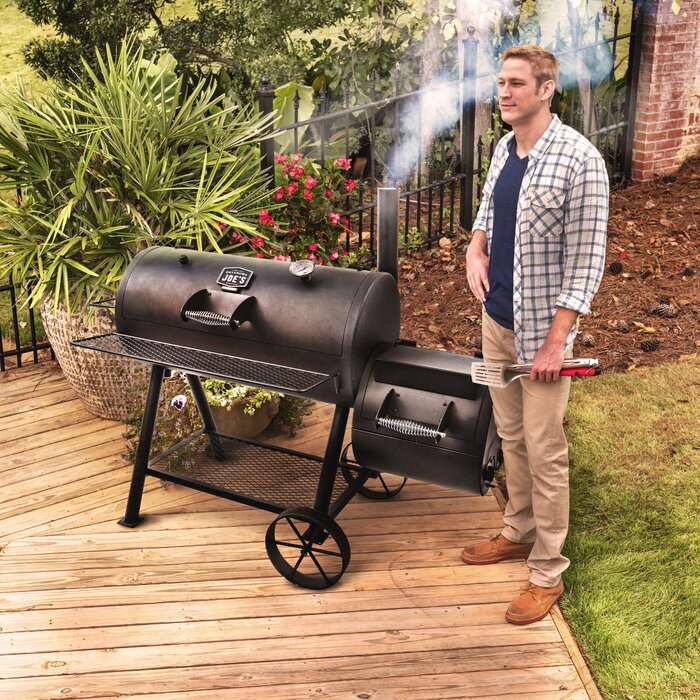Oklahoma Joe's Highland Reverse Flow Offset Charcoal Smoker and Grill