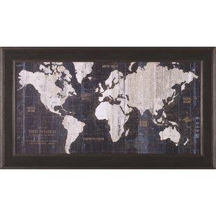 Old world map blue wayfair old world map blue framed graphic art gumiabroncs Choice Image
