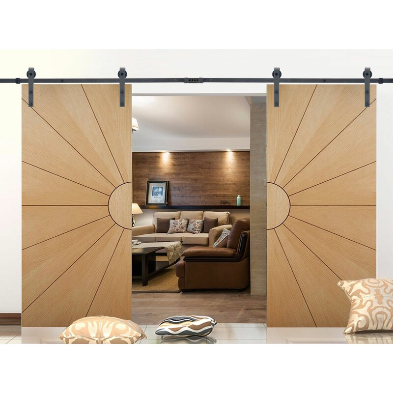 Calhome Classic Bent Strap Standard Double Track Barn Door Hardware