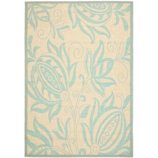 Marcella Cream/Aqua Indoor/Outdoor Area Rug