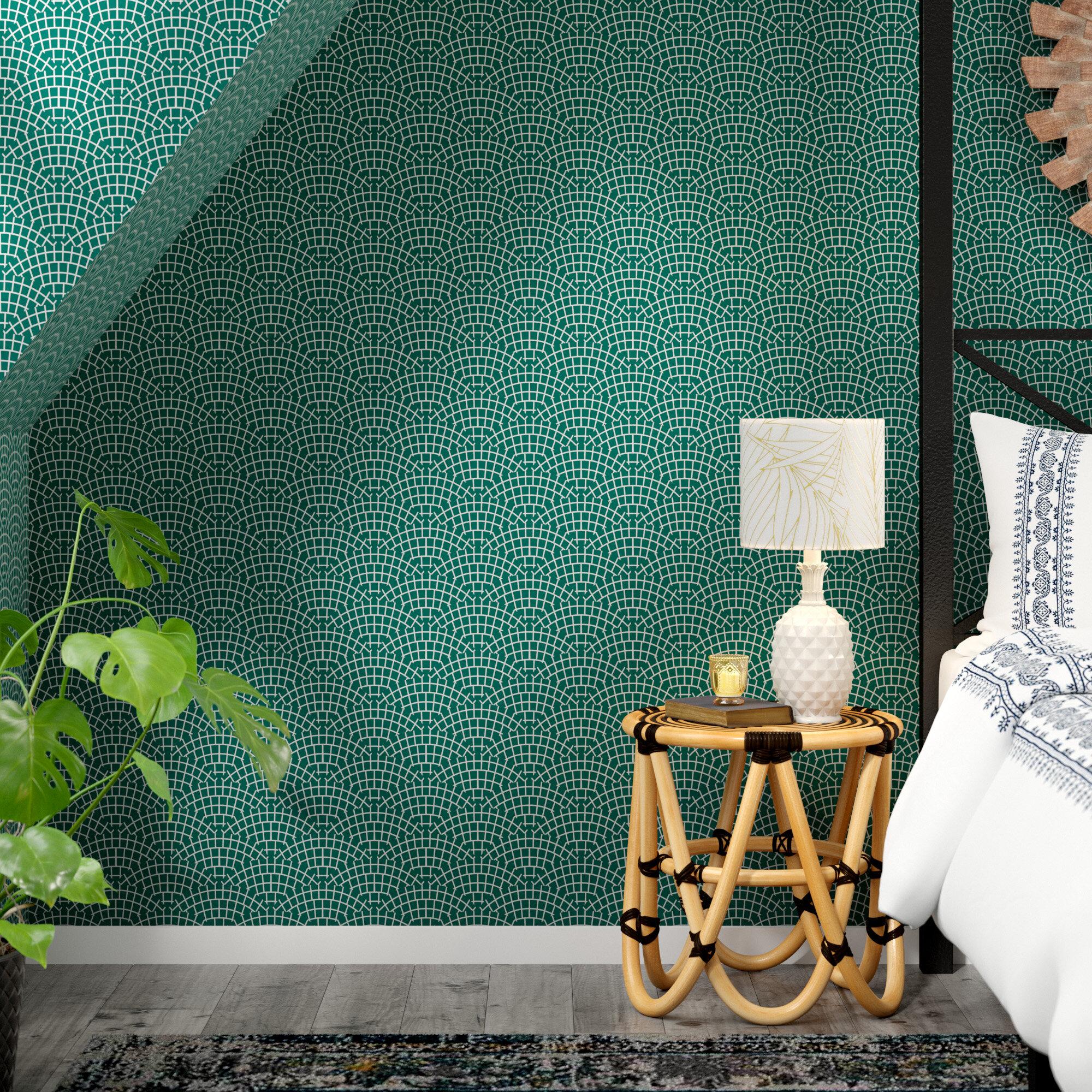 East Urban Home Holli Zollinger Mosaic Scallop Marine Matte Peel And Stick Wallpaper Panel Reviews Wayfair Ca