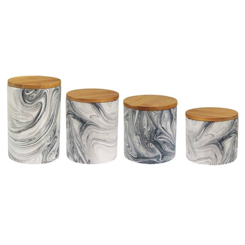 4 Piece Marble Canister Set #marblejar #canister #storagejar