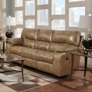 Caroline  Leather Reclining Sofa by Red Barrel Studio
