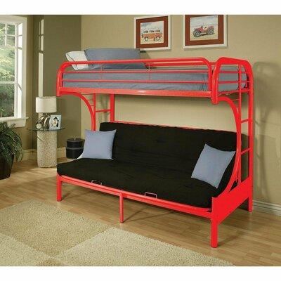 Zoomie Kids Kelm Futon Twin Futon Bunk Bed Colour: Red
