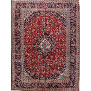One-of-a-Kind Hazzard Traditional Kashan Persian Hand-Knotted 9'9 x 12'11 Wool Red/Blue Area Rug ByIsabelline