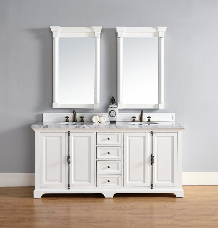 Belhaven 72 Double Cottage White Granite Top Bathroom Vanity Set