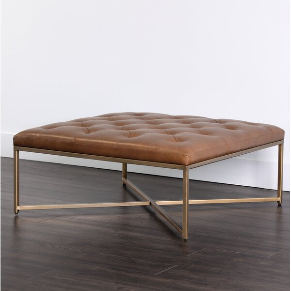 Sunpan Modern Endall Square Leather Tufted Cocktail