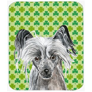 Chinese Crested St Patrick's Irish Glass Cutting Board ByEast Urban Home