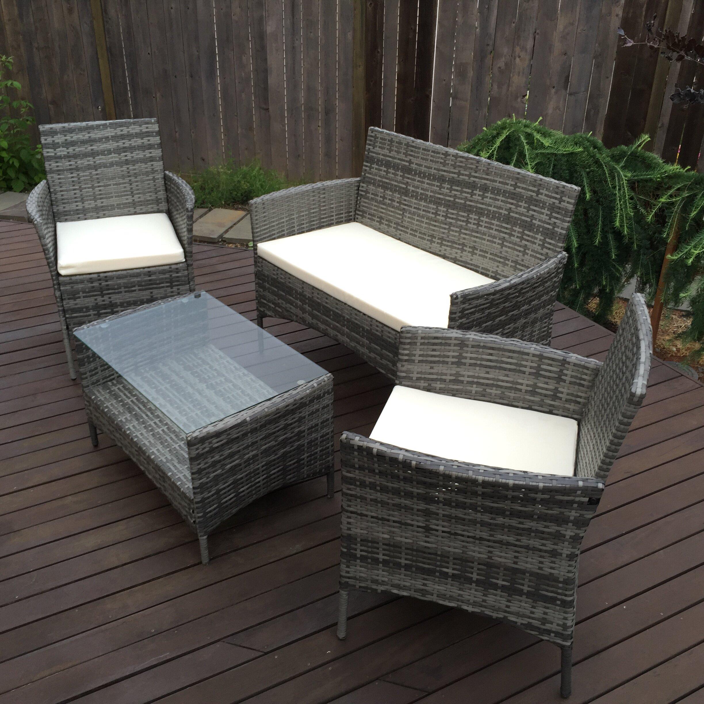 Cool Aleko Caprera Set Rattan Wicker Furniture 4 Piece Indoor Outdoor Coffee Table Set In Grey Download Free Architecture Designs Embacsunscenecom