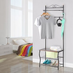 Quakertown Entryway 3 Tiers and 5 Free Hooks Storage Shoe Bench Hall Tree by Winston Porter