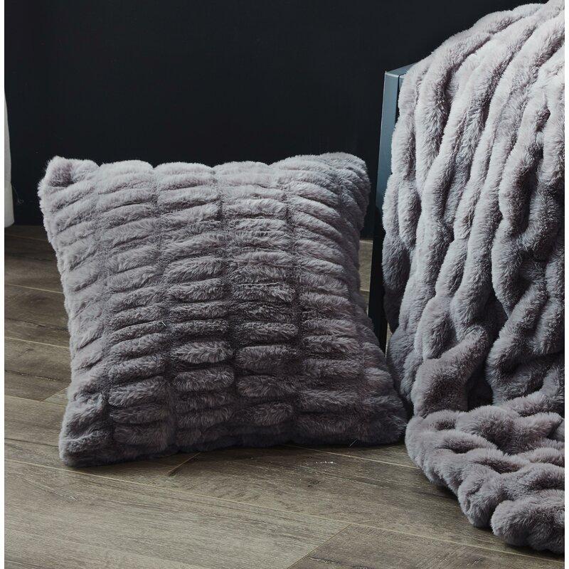 House Of Hampton Lam Sculpted Faux Fur Throw Pillow Reviews Wayfair