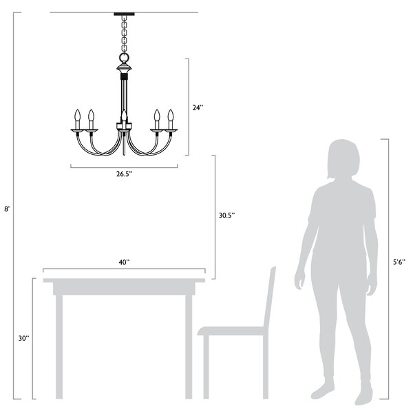 Shaylee 8 - Light Candle Style Empire Chandelier
