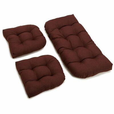 3 Piece Indoor/Outdoor Bench and Dining Chair Cushion Set Fabric: Cocoa by Darby Home Co