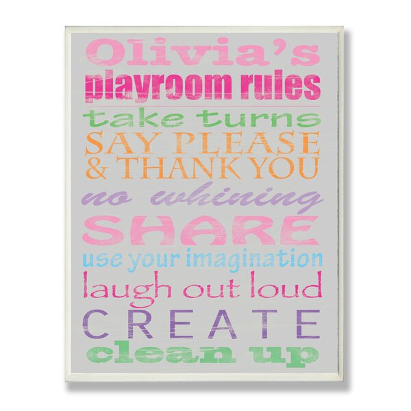 Kids Room Personalization Girl's Typography Playroom Rules Wall