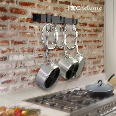 """Utensil Bar Wall Mounted Pot Rack with Hook Rack It Up! Size: 2"""" H x 34"""" W x 1.5"""" D, Finish: Black"""