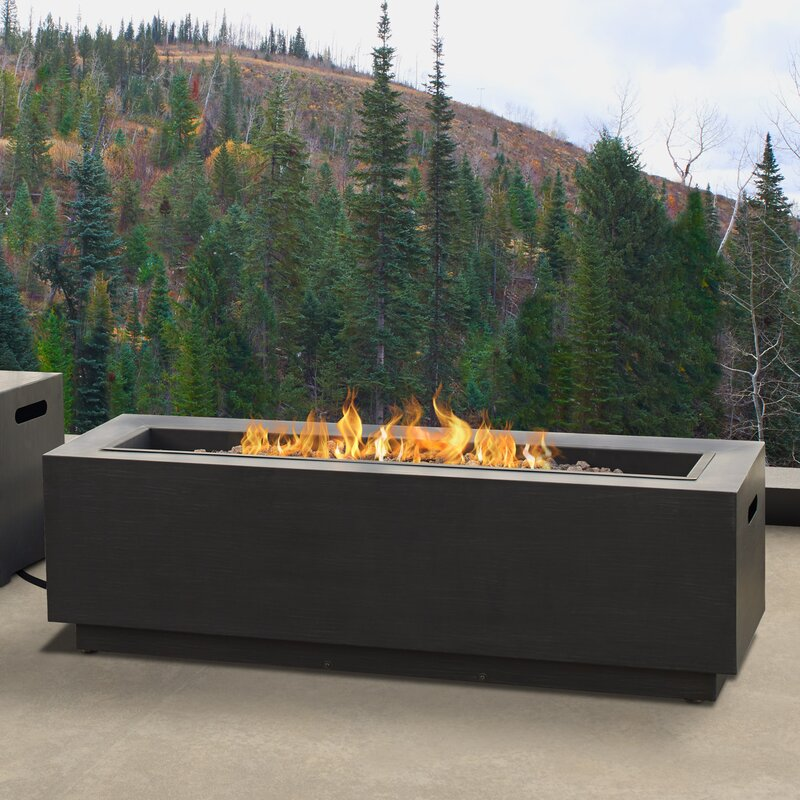 Lanesboro Rectangle Steel Propane Natural Gas Fire Pit