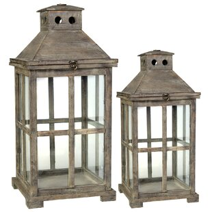 Wooden 2 Piece Metal Lantern Set