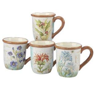 Fulbright Herb Blossoms Ceramic Coffee Mug (Set of 4)