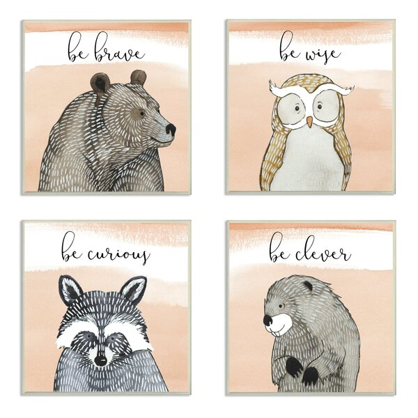 Harriet Bee Ellenboro Brave Wise Curious Clever Woodland Animals 4 Piece Canvas Art Set Wayfair