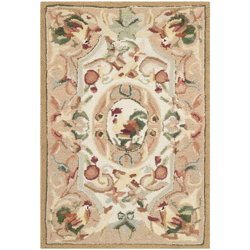 August Grove Kinchen Hand-Hooked Wool Taupe/Red/Green/Orange Area Rug, Size: Rectangle 18 x 26