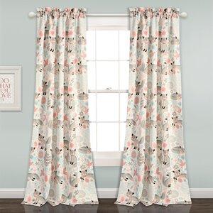 Sidney Animal Print Room Darkening Rod Pocket Curtain Panels (Set of 2)