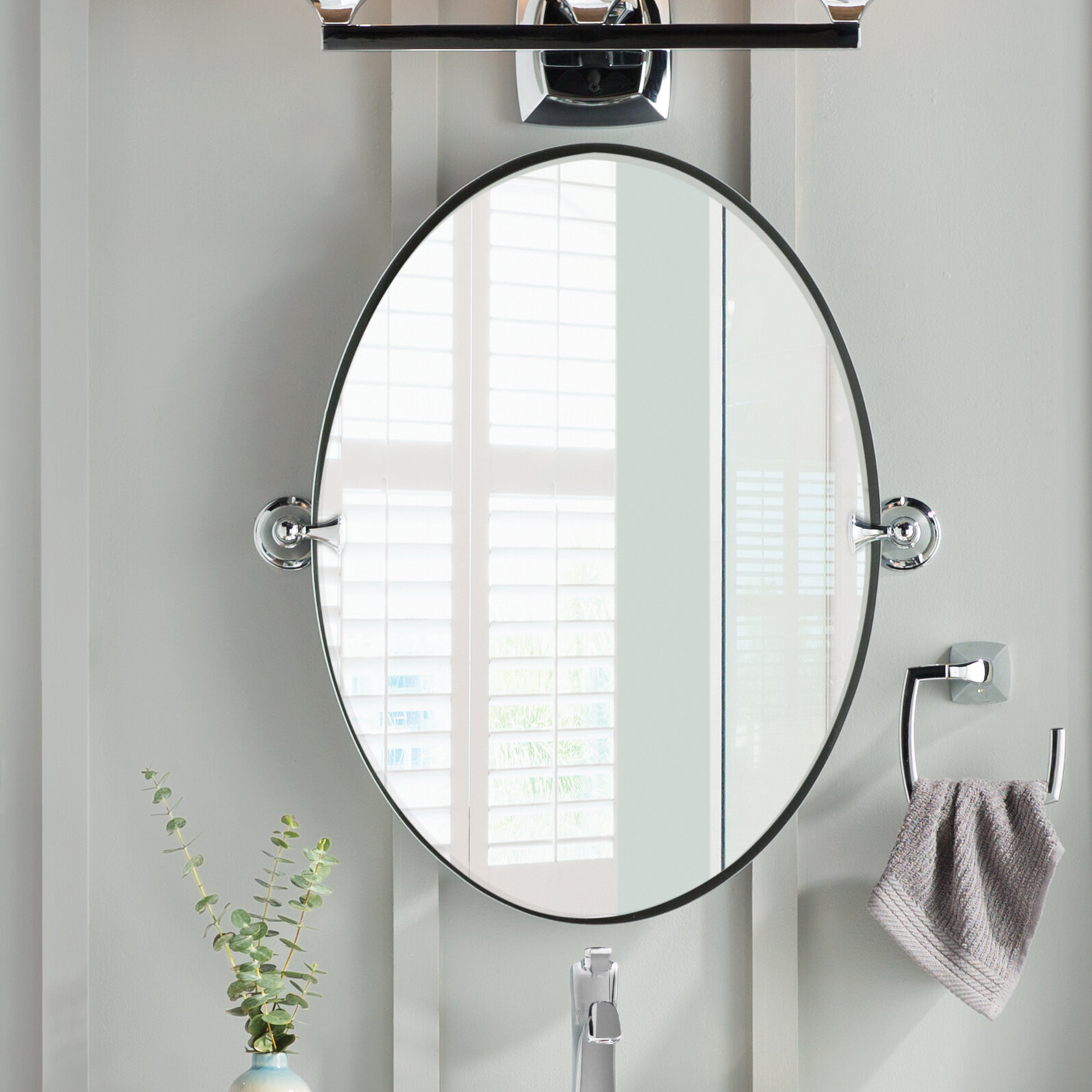 Dn2692ch Bn Moen Glenshire Contemporary Beveled Frameless Vanity Mirror Reviews Wayfair