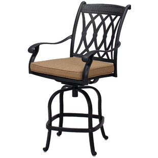 Melchior Patio Counter Height Swivel Bar Stool with Cushion (Set of 6) (Set of 6)