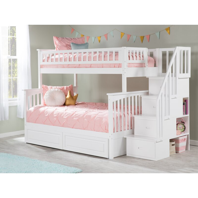 Viv Rae Henry Staircase Bunk Bed With Shelves Reviews Wayfair