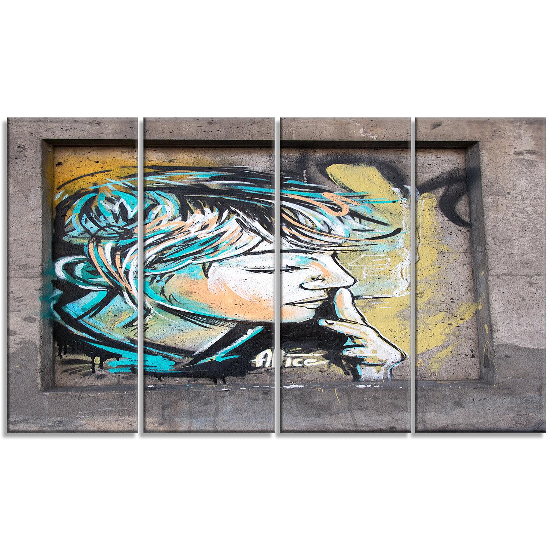 Designart Street Art By C215 4 Piece Graphic Art On Wrapped Canvas Set Wayfair