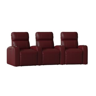 Home Theater Row Curved Seating with Chaise Footrest (Row of 3)