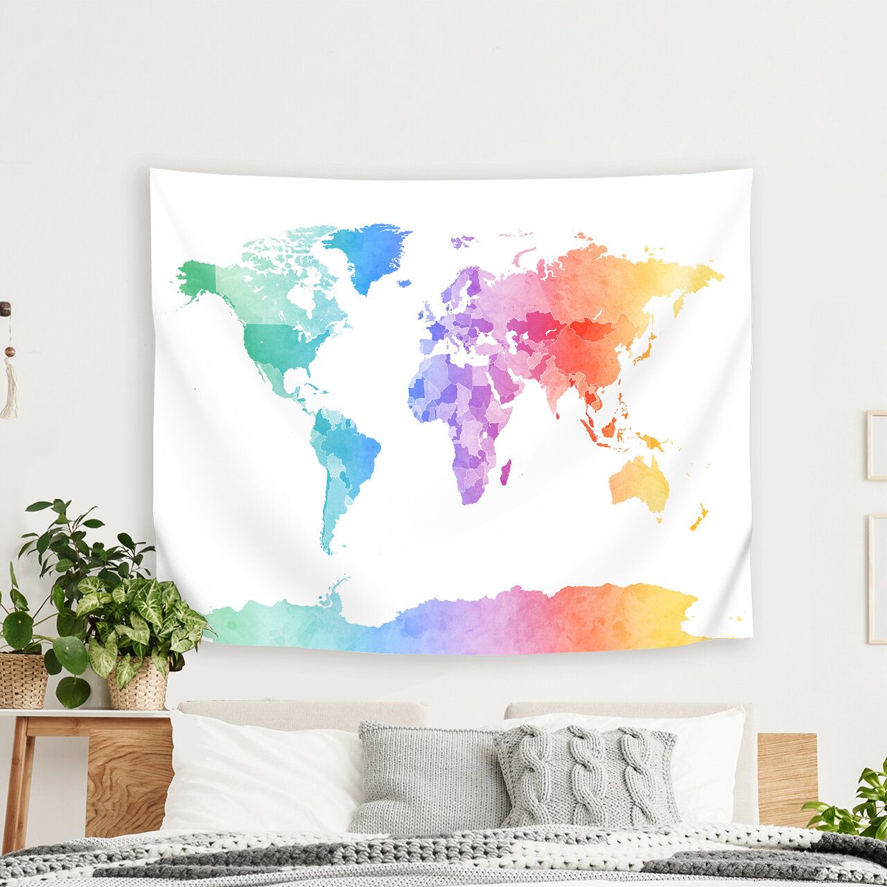 Michael Tompsett - Art Pause Watercolor Map of the World Map New 3 Tapestry