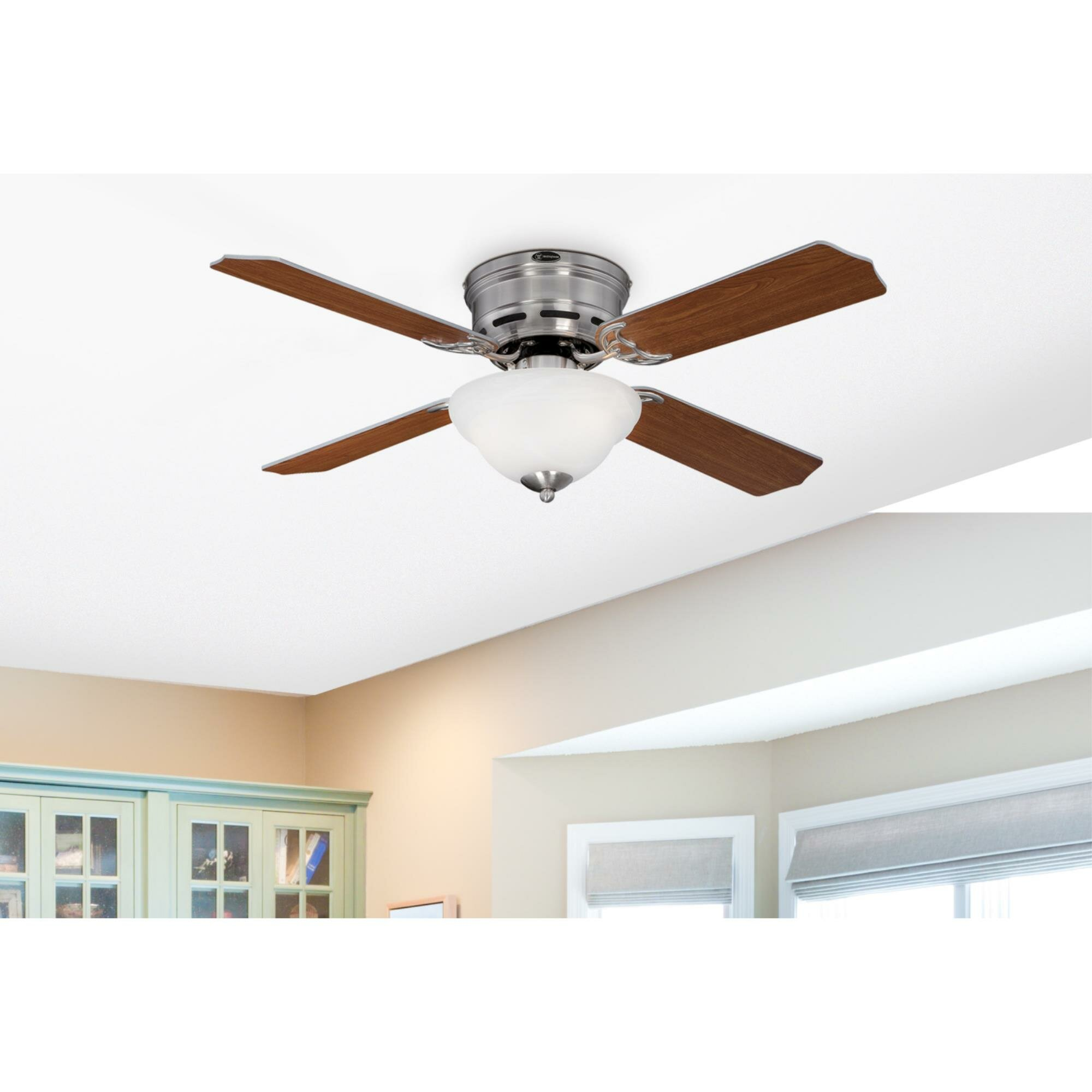 Westinghouse Lighting 42 Hadley 4 Blade Standard Ceiling Fan With Pull Chain And Light Kit Included Reviews Wayfair