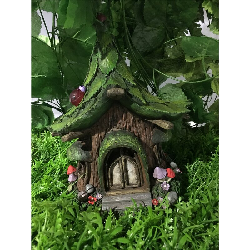 Fairy Garden House With Leaf Roof And Solar LED Lights Statue