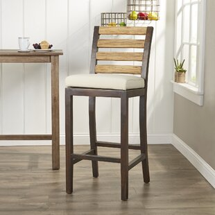 Stephens 27 Teak Patio Bar Stool with Cushion by Birch Lane™ Heritage