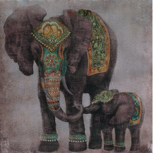 Indian Elephant With Baby Wall Art On Canvas