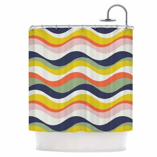 Coupon Rainbow Stripes Shower Curtain ByEast Urban Home