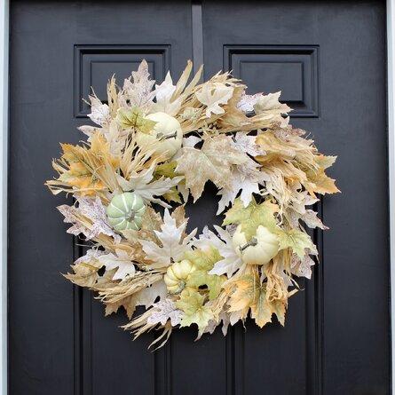 Mixed Pumpkin & Gourd Corn Husk Fall Harvest Front Door Wreath