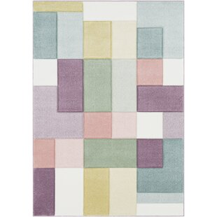 Reviews Mott Street Modern Geometric Carved Pink/Teal Area Rug By Wrought Studio