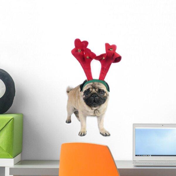 The Holiday Aisle Pug Dog Wearing Wall Decal Wayfair