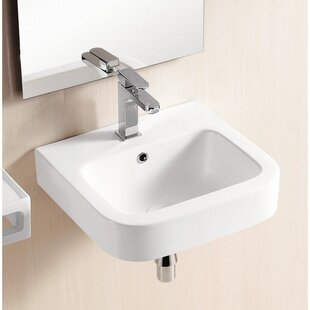 Affordable Price Ceramic 19 Wall Mount Bathroom Sink with Overflow By Caracalla