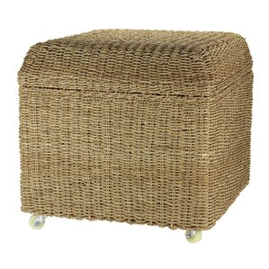 Chana Rolling Seagrass Wicker Storage Seat Ottoman by Beachcrest Home