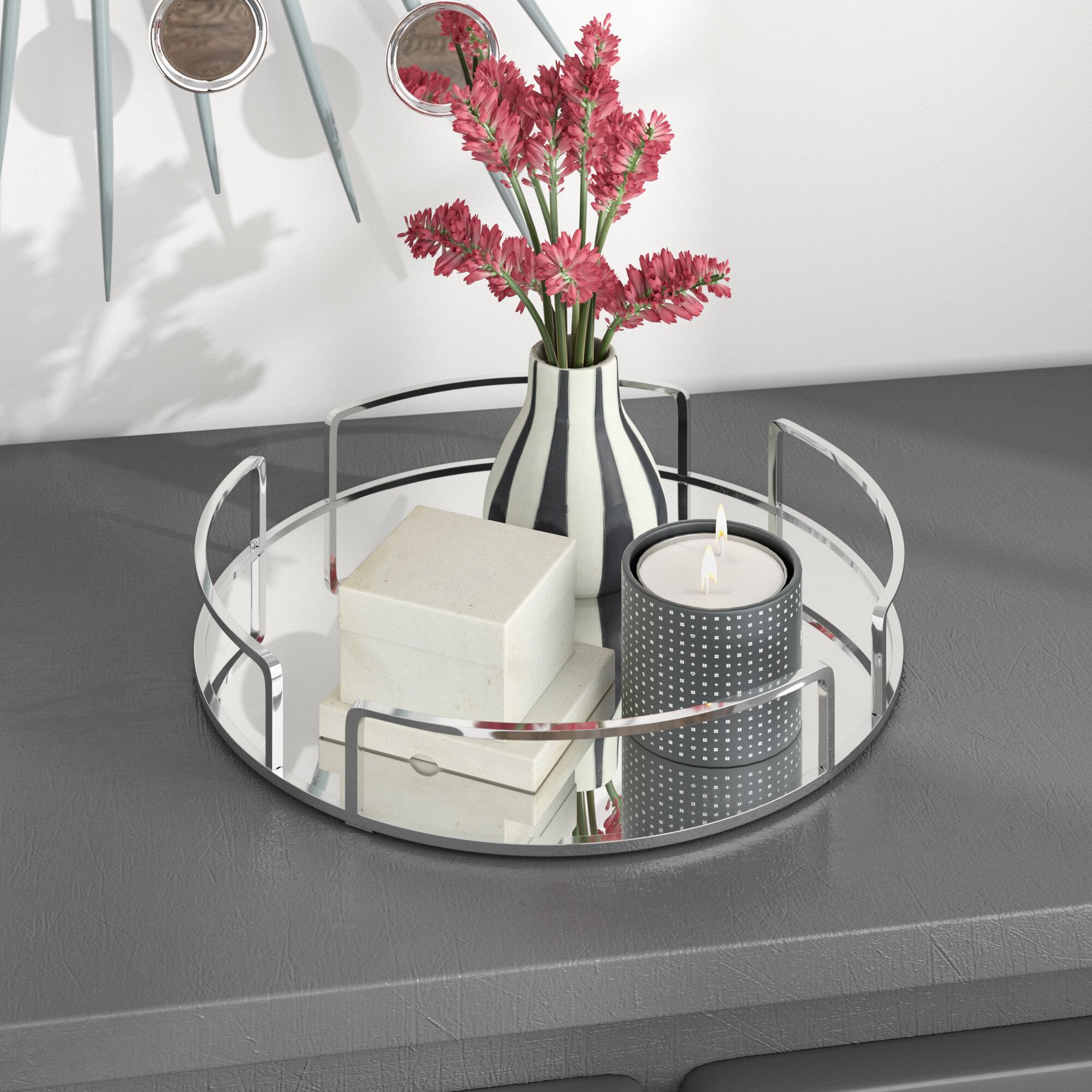 Orren Ellis Erela Modern Round Design Mirror Vanity Tray & Reviews