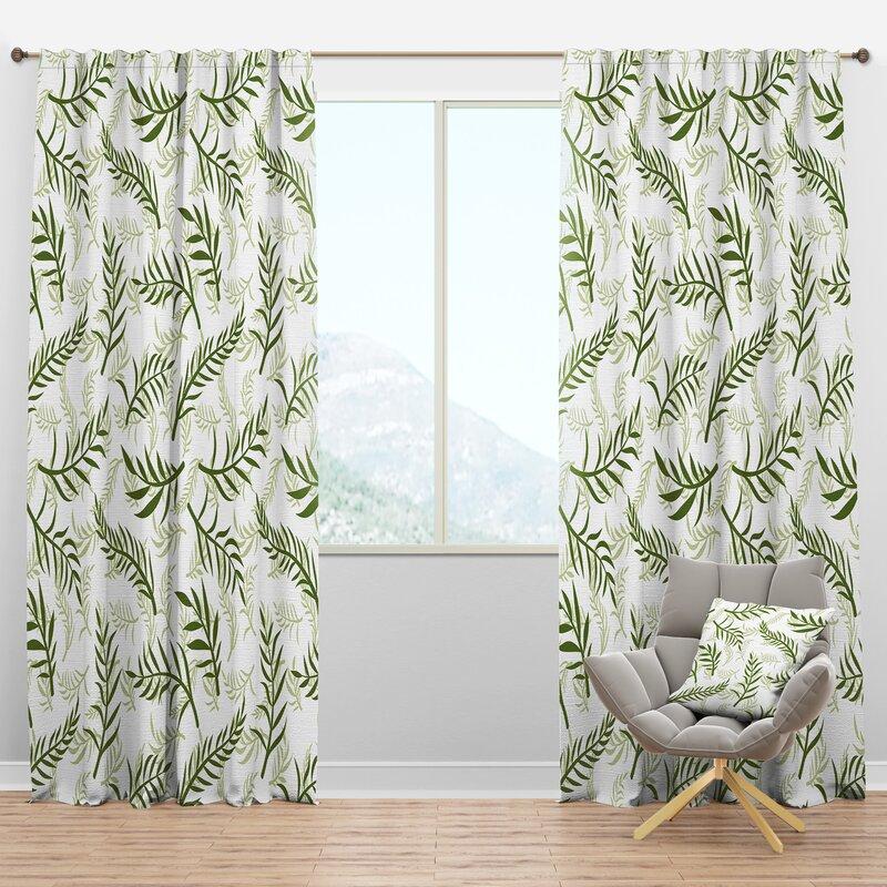Designart Mid Century Tropical Botanicals I Floral Semi Sheer Thermal Rod Pocket Curtain Panels Wayfair