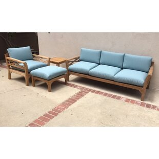 Lorenzo 4 Piece Teak Sunbrella Sofa Set with Cushions