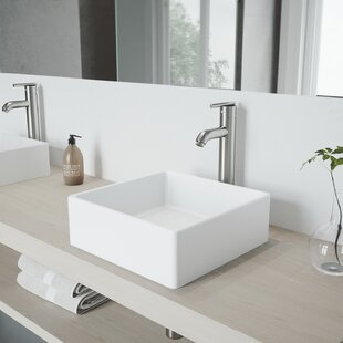 Find for VIGO Matte Stone Square Vessel Bathroom Sink with Faucet By VIGO