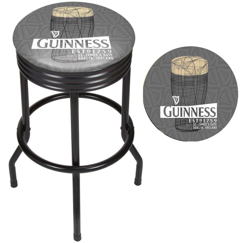Guinness Line Art Pint Ribbed 29 Swivel Bar Stool