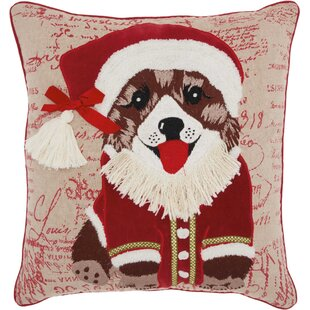 Leboeuf Santa Puppy Cotton Throw Pillow
