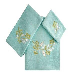 Robyn Leafs Brunch 3 Piece 100% Cotton Towel Set