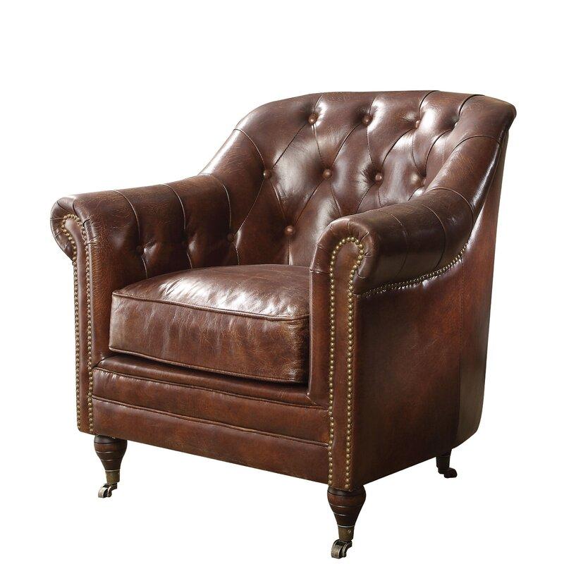 Kasha Top Grain Leather Club Chair #leatherclubchair #tuftedchair
