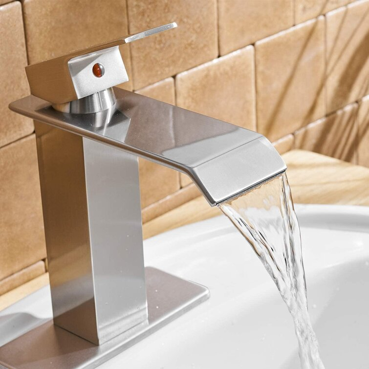 Weilaicheng Waterfall Bathroom Faucet Brushed Nickel Single Hole For Sink 1 Hole Bathroom Sink Faucet Parts Square Spout Bath Vanity Lavatory With Supply Hose Wayfair